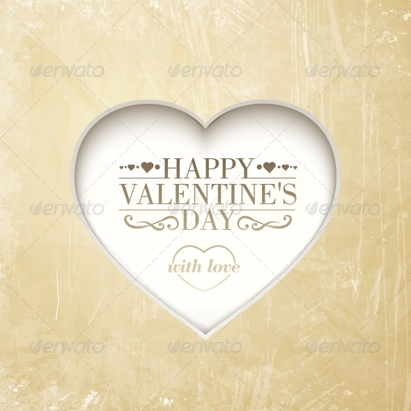 Happy Valentine's Day Background with Heart - Valentines Seasons/Holidays