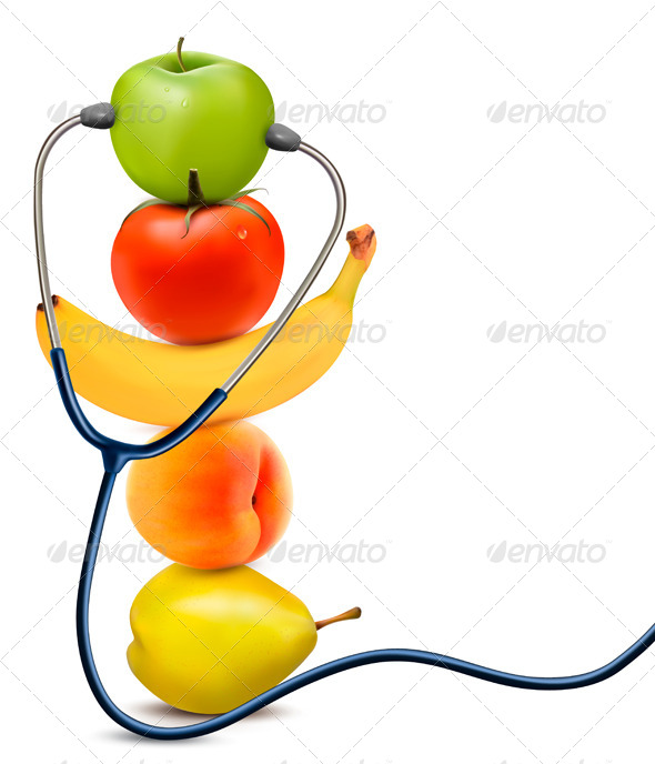 Fruit with a Stethoscope Healthy Eating Concept - Health/Medicine Conceptual