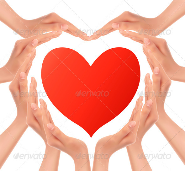 Heart of Hands Holding a Red Heart - Valentines Seasons/Holidays