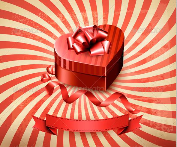 Heart-Shaped Gift Box on Retro Background - Valentines Seasons/Holidays