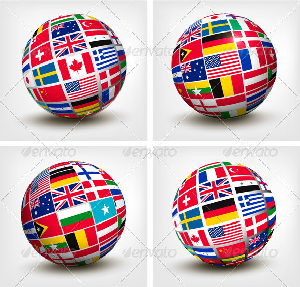 Flags of the World in Globe - Concepts Business