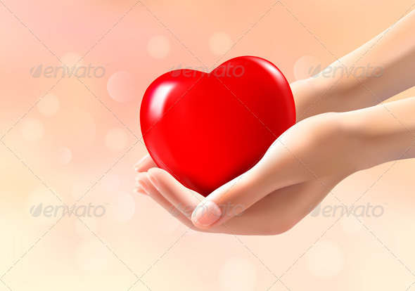 Hands Holding a Red Heart - Valentines Seasons/Holidays