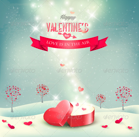 Valentines Day Background with an Open Box - Valentines Seasons/Holidays