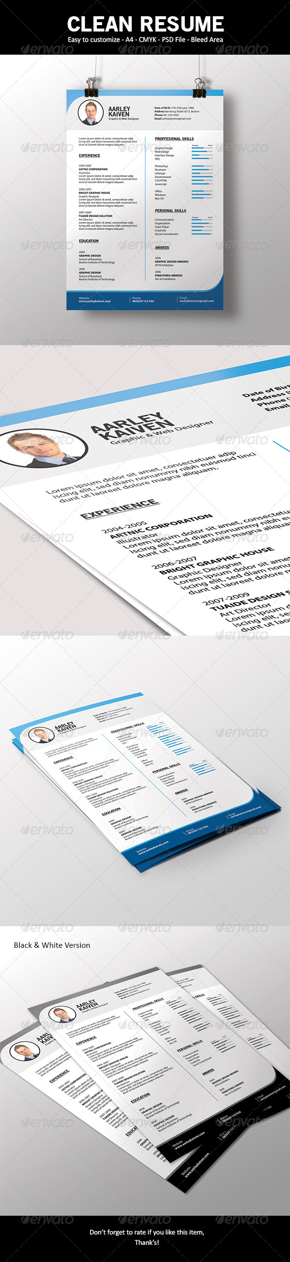 Simple and Clean Resume - Resumes Stationery