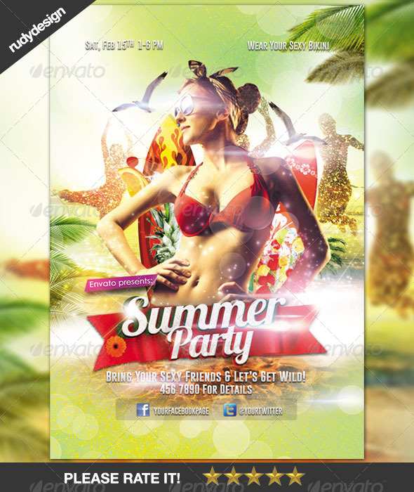Summer Party Flyer Design - Clubs & Parties Events