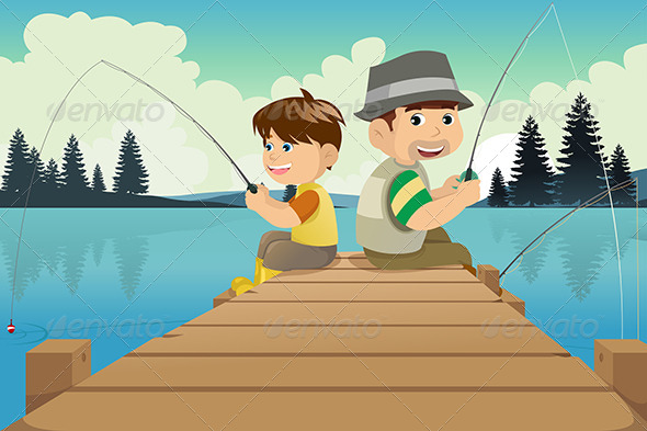 Father and Son Going Fishing in a Lake - People Characters