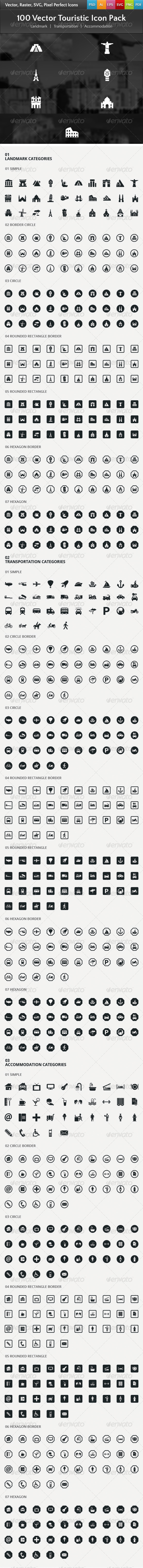 100 Vector Touristic Icons - Business Icons
