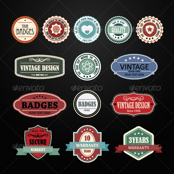 Set of Retro Vintage Badges and Labels - Decorative Vectors