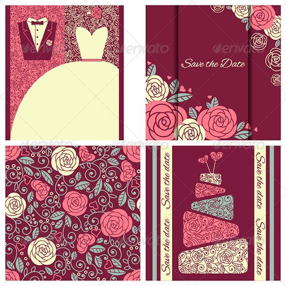 Set of Wedding Cards in Elegant Style - Weddings Seasons/Holidays
