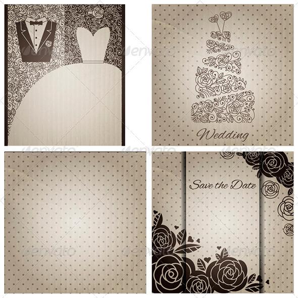 Set of Wedding Cards in Vintage Style - Weddings Seasons/Holidays