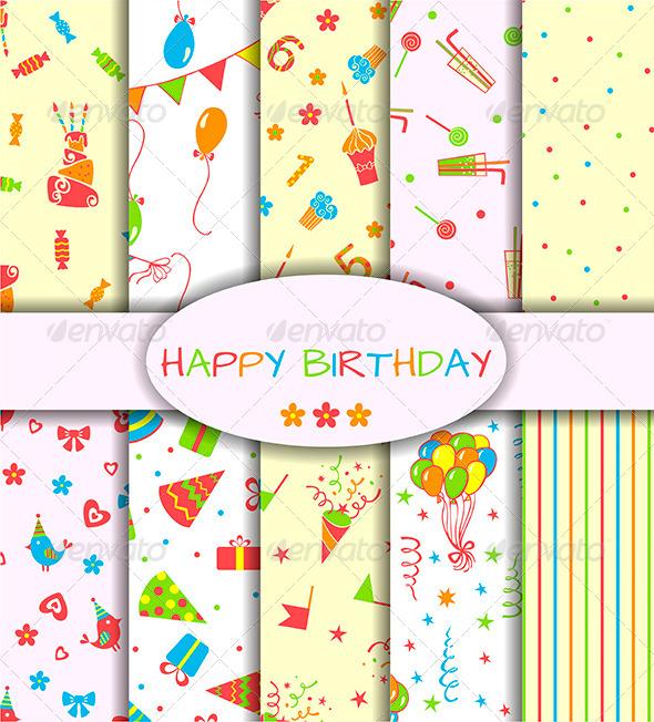 Set of Ten Happy Birthday Patterns - Birthdays Seasons/Holidays
