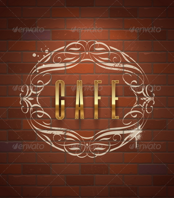 Cafe Decorative Golden Sign on Vintage Brick Wall - Decorative Vectors