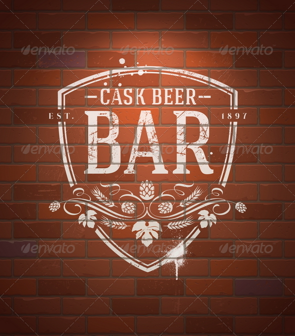 Bar Sign Painted on Vintage Brick Wall - Decorative Vectors
