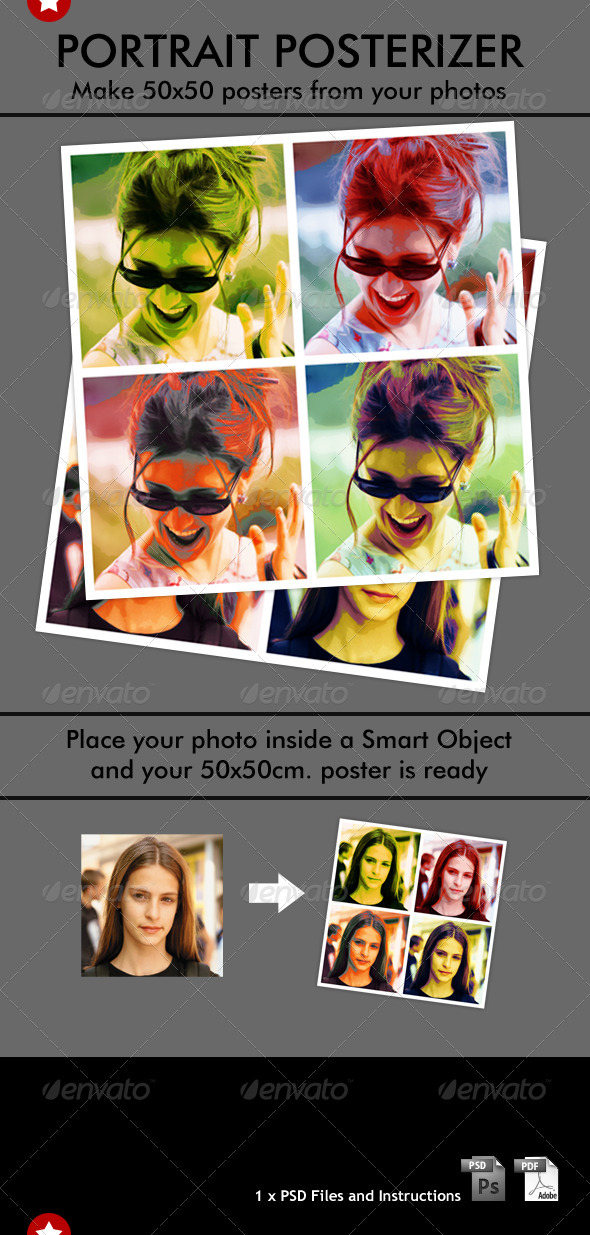 Pop-Art style Portrait Posterizer - Artistic Photo Templates