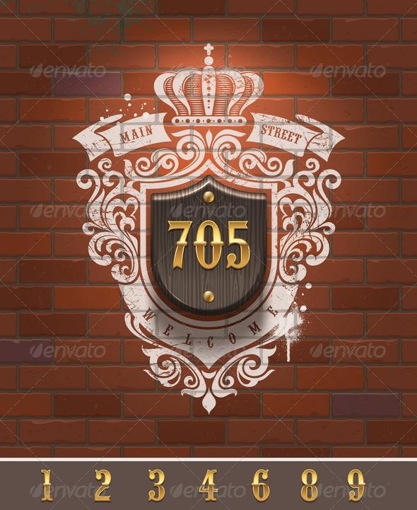 Vintage Home Number Sign - Decorative Vectors
