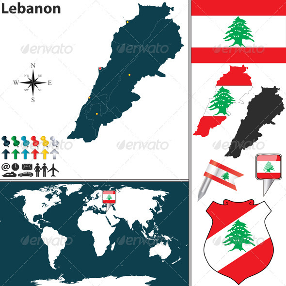 Map of Lebanon - Travel Conceptual
