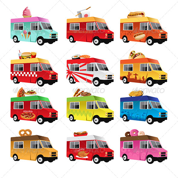 Food Trucks - Objects Vectors
