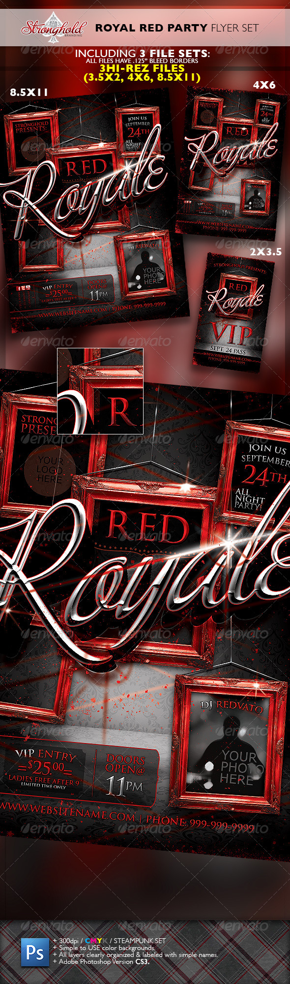Royal Red Party VIP Event Flyer Template Set - Events Flyers