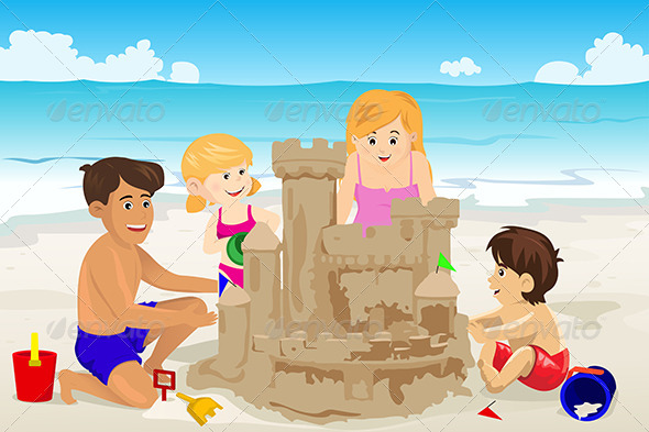 Family Building Sand Castle - Travel Conceptual