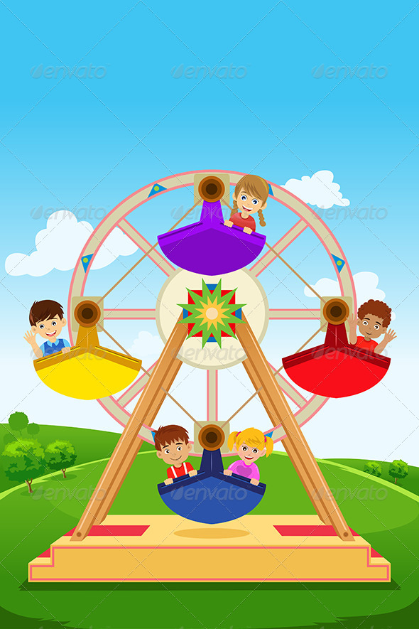 Kids Riding a Ferris Wheel - People Characters