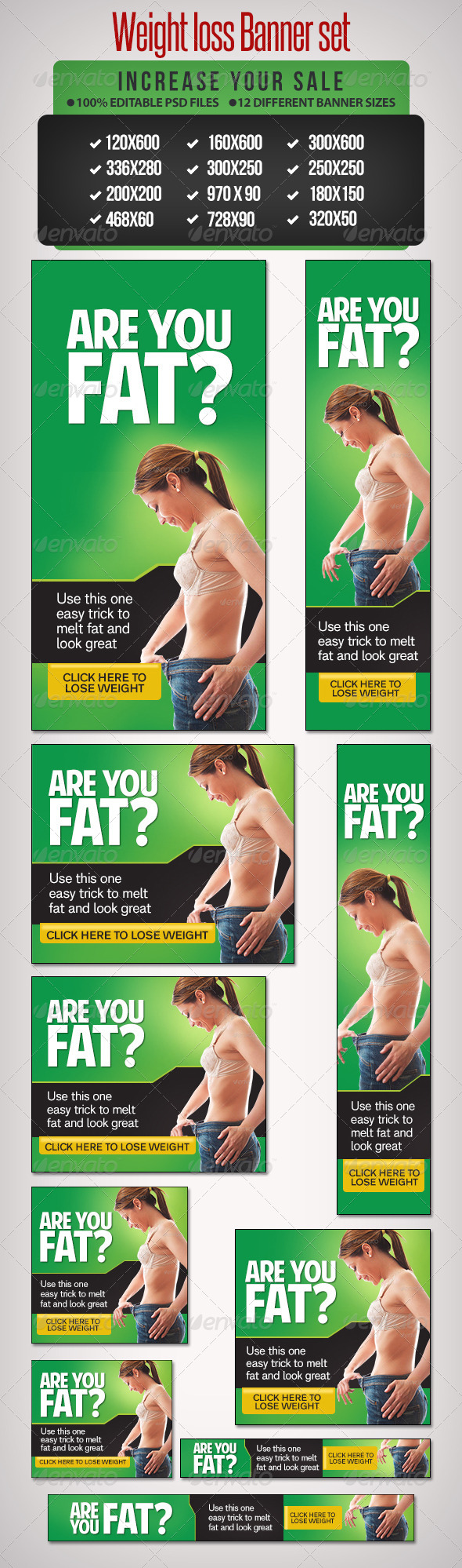Weight Loss Banner Set 10 - Banners & Ads Web Elements