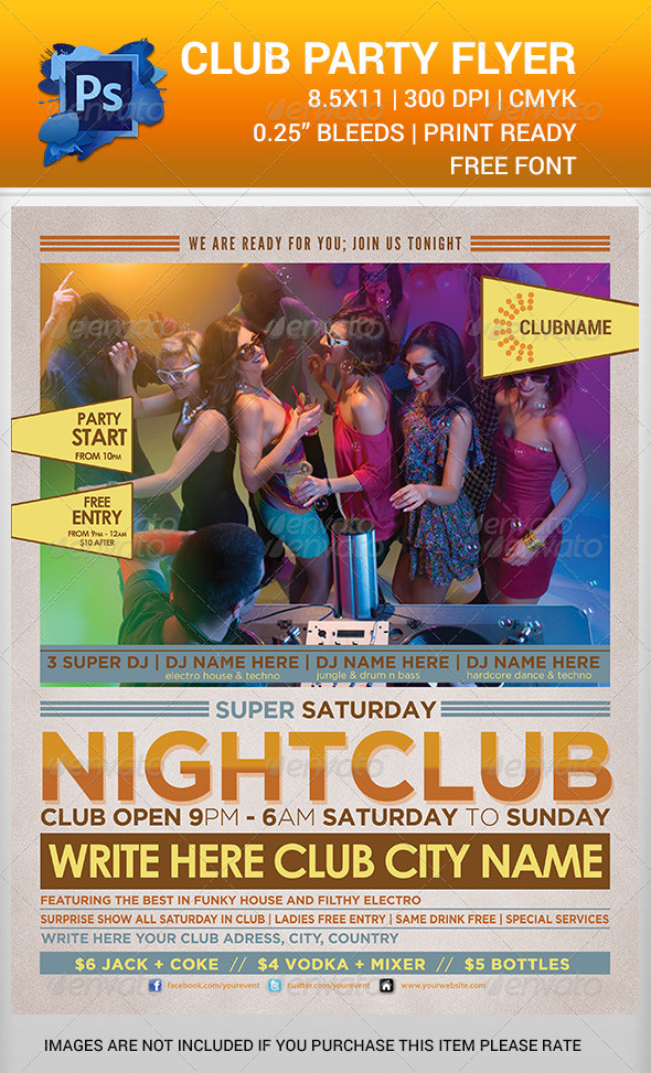 Club Party Time Flyer Template V2 - Clubs & Parties Events