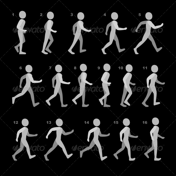 Phases of Step Movements Walking Sequence - People Characters