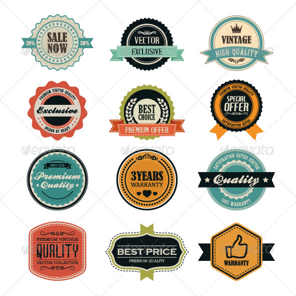 Set of Retro Vintage Badges and Labels - Decorative Vectors