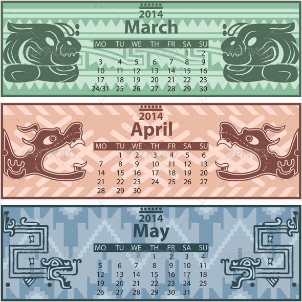 Spring Calendar 2014 with Mayan Ornaments - Travel Conceptual