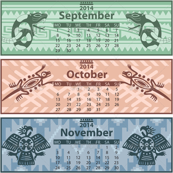 Autumn Calendar 2014 with Mayan Ornaments - Travel Conceptual
