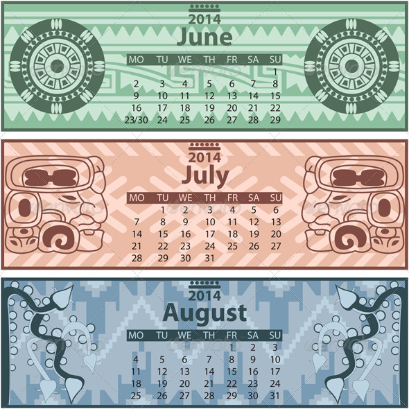 Summer Calendar 2014 with Mayan Ornaments - Travel Conceptual