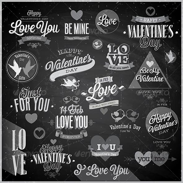 Valentine`s Day Set Chalkboard - Valentines Seasons/Holidays