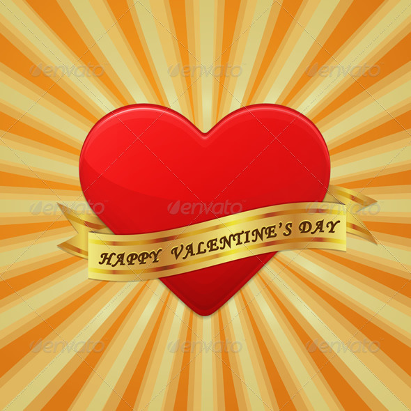 Heart with Ribbon and Happy Valentine's Day - Vectors