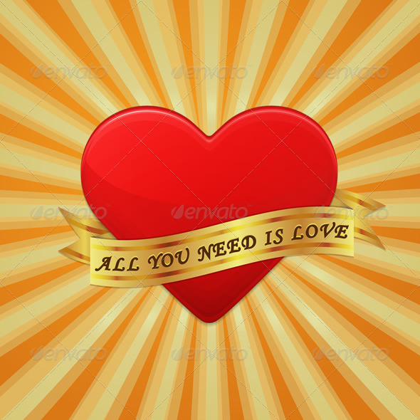 Heart with Ribbon and Phrase All You Need is Love - Vectors