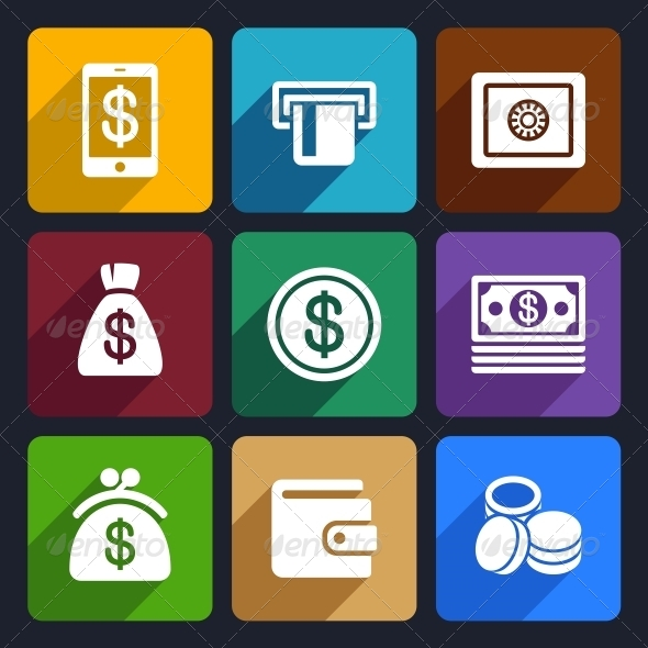 Money and Bank Flat Icons Set 40 - Business Icons