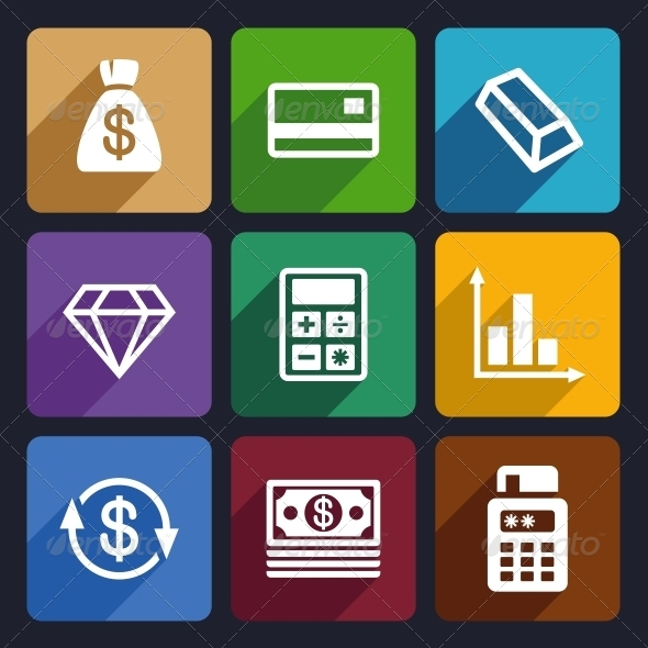 Money and Bank Flat Icons Set 41 - Business Icons