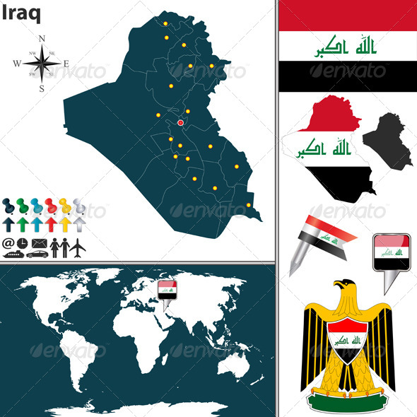 Map of Iraq - Travel Conceptual