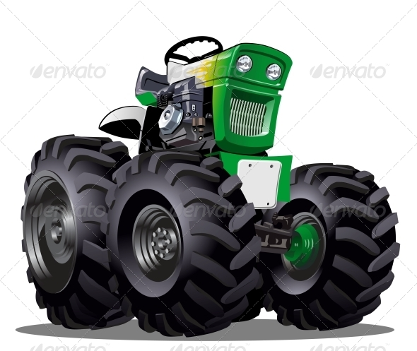 Vector Cartoon Tractor - Man-made Objects Objects