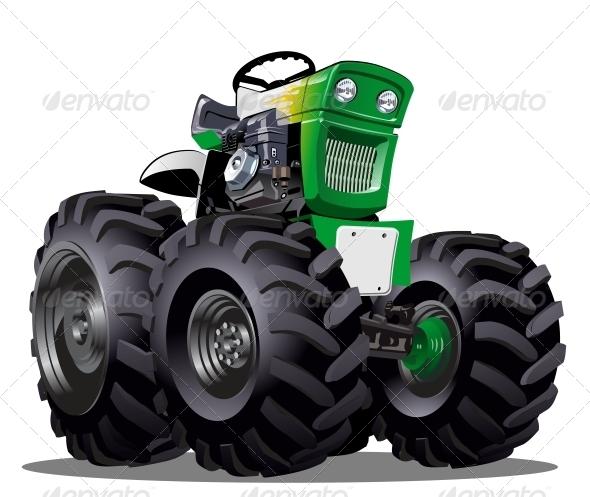 Vector Cartoon Tractor By Mechanik Graphicriver