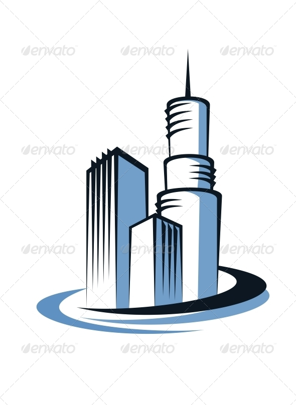 Modern City and Communications Tower - Buildings Objects