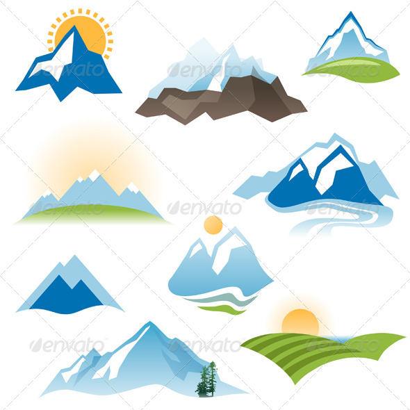 Stylized Landscape Icons - Landscapes Nature