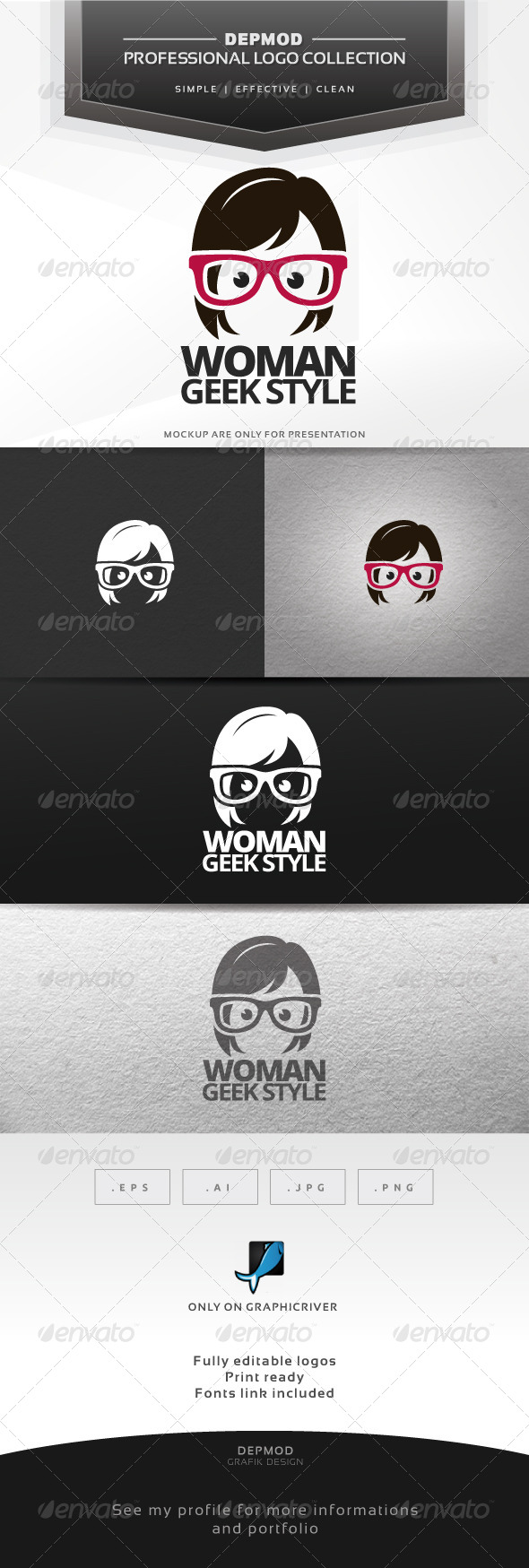 Woman Geek Style Logo - Humans Logo Templates