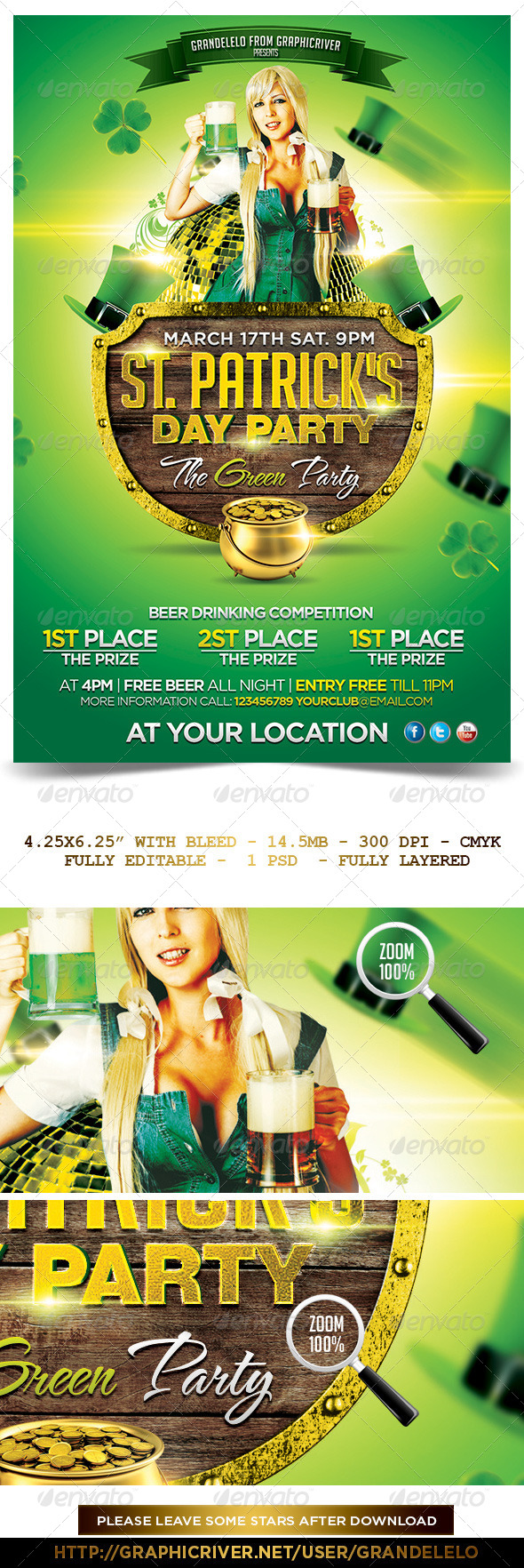St. Patricks Day Flyer Template   - Holidays Events