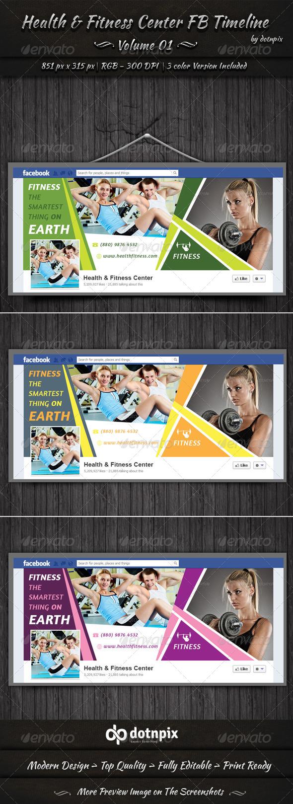 Health & Fitness Center FB Timeline | Volume 1 - Facebook Timeline Covers Social Media