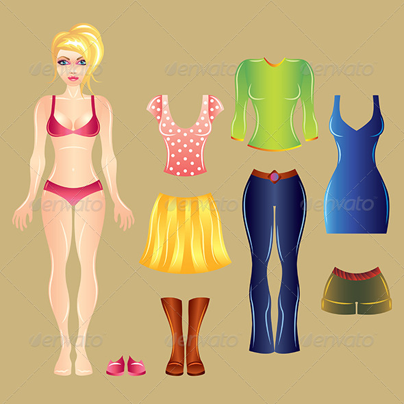 White Paper Girl Dress Up Template - People Characters