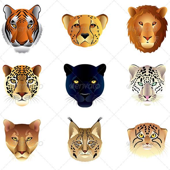 Big Cat Heads Set - Animals Characters