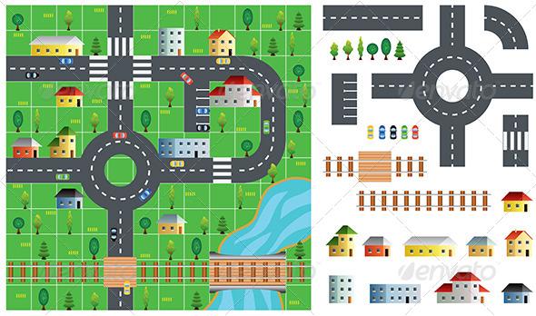 City Map Toolkit Vector Illustration - Patterns Decorative