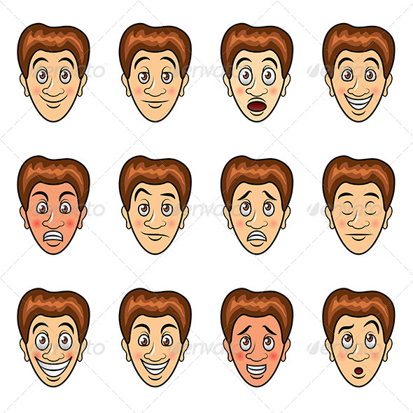 Man's Emotions Cartoon Set - People Characters