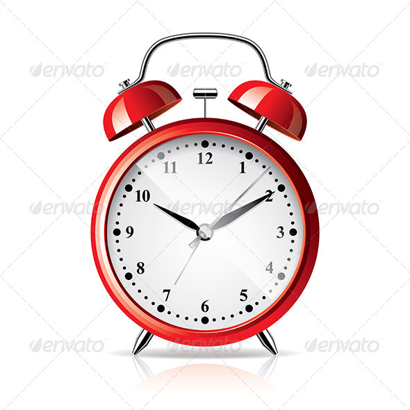 Red Alarm Clock Isolated on White Vector - Man-made Objects Objects