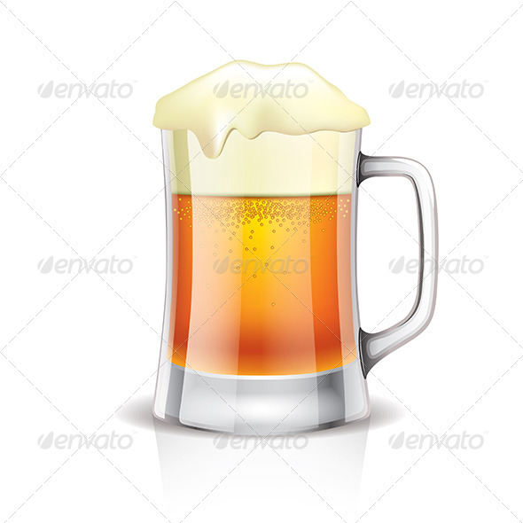 Beer Mug Isolated on White - Food Objects
